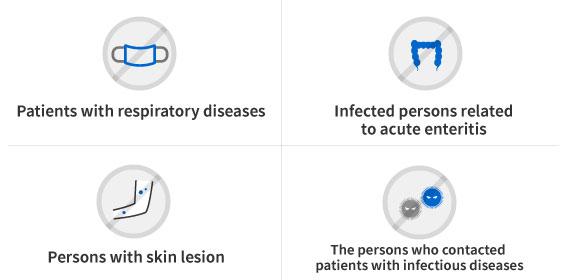 호흡기 질환자, 급성 장 관계 감염자, 피부 병변이 있는 사람, 감염성 질환자 접촉 경력이 있는 사람